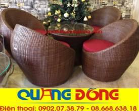 bàn ghế cafe cao cấp, ghế trứng QD-221