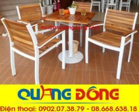 bàn ghế gỗ khung sắt QD-06