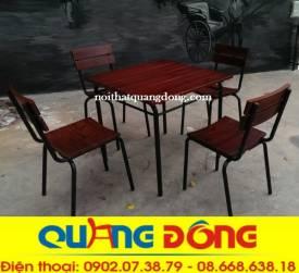 bàn ghế gỗ khung sắt QD-04