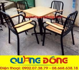 bàn ghế gỗ khung sắt QD-05