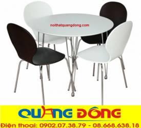 bàn ghế gỗ khung inox QD-09