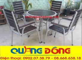 bàn ghế gỗ khung sắt QD-08