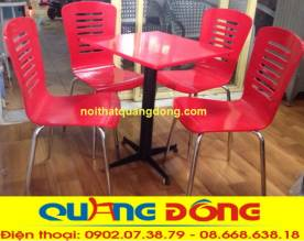 bàn ghế gỗ chân inox QD-022