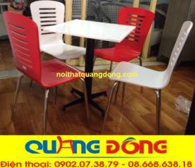 bàn ghế gỗ chân inox QD-017 trắng đỏ