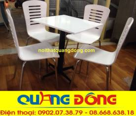 bàn ghế gỗ chân inox QD-017 trắng