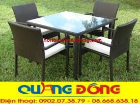 bàn ghế giả mây QD-309