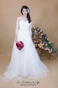 A-line tulle dress with illusion neckline and pearl embroidery