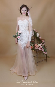 See-thru mermaid dress with illusion sleeve and neckline and lace embroidery