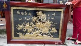 Tranh đồng hoa mẫu đơn mạ vàng 24k