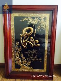 Tranh đồng chữ Phúc thư pháp mạ vàng 24k MS02