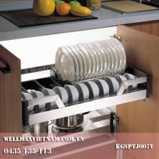 Rổ bát, đĩa inox hộp, đáy đặc,  ray giảm chấn  (gắn cánh tủ)