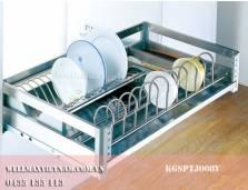 Rổ úp bát đĩa inox hộp, đáy đặc,  ray giảm chấn (gắn cánh tủ)
