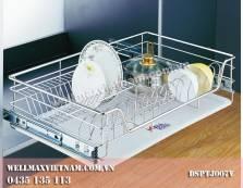 Rổ úp bát, đĩa inox nan có khay hứng  nước , không giảm chấn (không gắn cánh tủ )