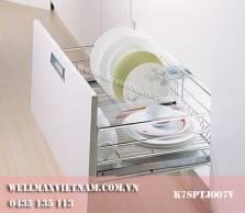 Rổ bát đĩa xoong nồi đa năng inox  nan, có khay hấng nước, ray giảm  chấn  Wellmax