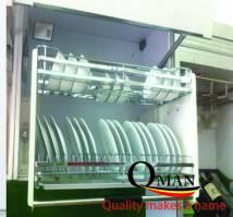 Giá úp bát đĩa nâng hạ lắp tủ trên có hệ  trợ lực INOX