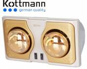 Đèn sưởi nhà tắm kottmann 2 bóng dòng vàng