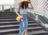 Cách mix chân váy Demin hot như sao Việt