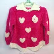 Áo len dài tay màu hồng hình tim