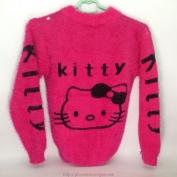 Áo len ketty màu hồng có hình chú mèo