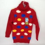 Áo len màu đỏ có hình chấm tròn có nhiều màu