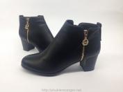 Bốt thấp cổ Shoens màu đên gót vuông