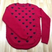 Áo len dài tay màu hồng chấm hình trái tim dành cho bé gái