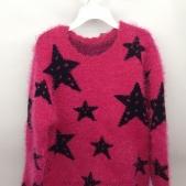 Áo len dài tay màu hồng có hình ngôi sao dành cho bé gái