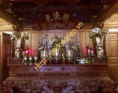 Bộ đồ thờ thếp vàng 24k