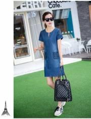 Đầm jean thêu túi caro - D91 - 160 (22/12 CÓ HÀNG)