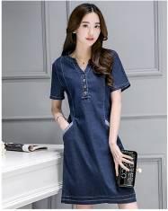 Đầm jean cổ trụ túi xéo - D119 - 160 (ĐÃ CÓ HÀNG)