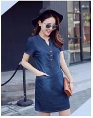 Đầm jean cổ V phối nút - D125 - 160 (ĐÃ CÓ HÀNG)
