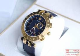 Đồng hồ nam Versace V-Race Blue Dial Men's GMT Leather chính hãng