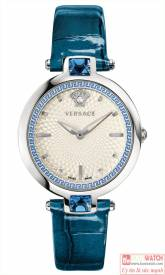 VERSACE OLYMPO CRYSTAL GLEAM SWISS QUARTZ STAINLESS STEEL AND LEATHER VAN020016