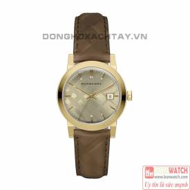 BURBERRY THE CITY LEATHER STRAP GOLD-TONE DIAL BU9153
