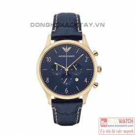 Emporio Armani Men's Sport Blue Leather Watch AR1862