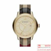 Burberry-Women039s-Swiss-Honey-Check-Fabric-Strap-Watch-BU10201