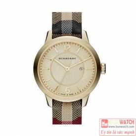 Burberry Women's Swiss Honey Check Fabric Strap Watch BU10201