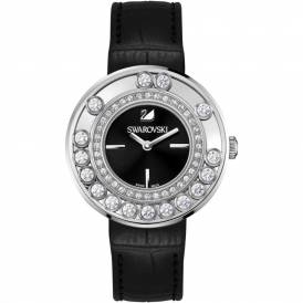 Lovely Crystals Black Dial Calfskin Leather Strap Quartz Ladies Watch 1160306
