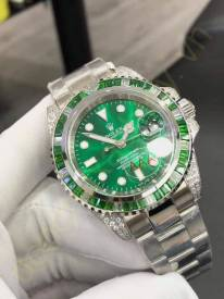 "ROLEX SUBMARINER ""HULK"" DIAMOND SET WITH CUSTOM EMERALD BEZEL"