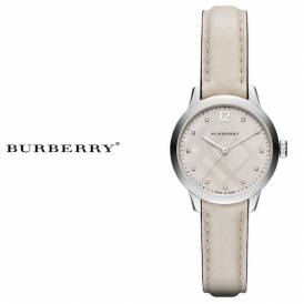 BURBERRY The Classic Round Diamond Accent White Leather Strap Ladies Watch BU10105 Authentic