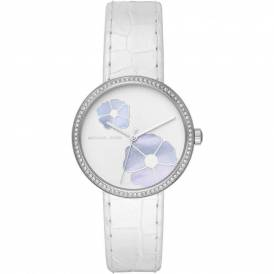 Michael Kors Womens Courtney Stainless-Steel and White Leather Watch MK2716 Authentic