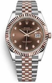 Rolex Datejust Everose gold chocolate dial, diamond-set Jubilee bracelet 126331-004 Replica