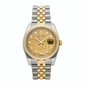 Rolex Champagne Diamonds Yellow Gold And Stainless Steel Datejust 116233 Replica