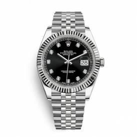 Rolex Datejust Black Dial Diamond Set Oyster Strap 126334-007 Replica