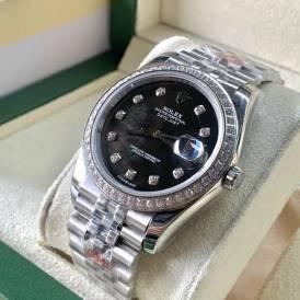 Rolex Datejust 116234-002 Mặt Số Xà Cừ Đen Viền và Cọc Số Diamond Replica