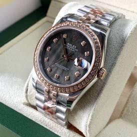Rolex Datejust 116234-003 Mặt Số Xà Cừ Tím Viền và Cọc Số Diamond rose gold Replica