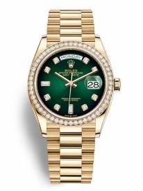 Rolex Day-Date Mặt Số Ombre Xanh Lá 128348RBR Replica