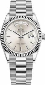 Rolex Day-Date White Gold Silver 128239-002 Replica
