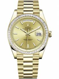 Rolex Day-Date Yellow Gold Champagne Index Dial & Diamond Bezel 228348RBR Replica