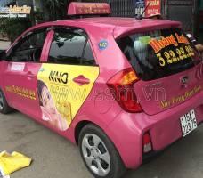 Mega Wecare : Quảng cáo trên taxi Hoàng Anh